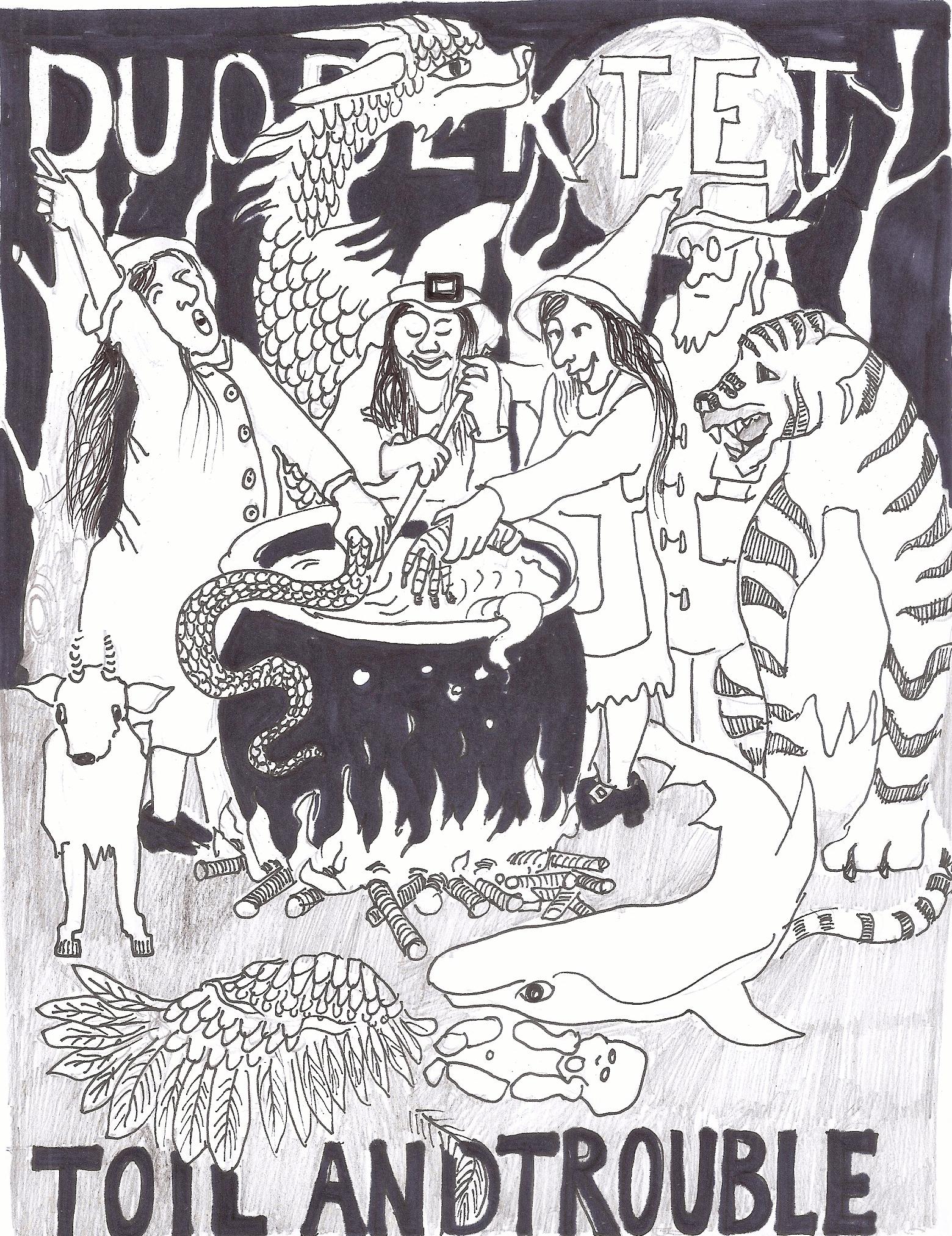 tekening programmaboekje concert Duodektet
